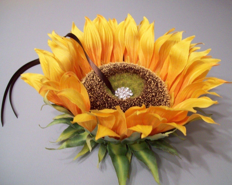 Sunflower Ring Pillow Alternative by WhiteThistleBridal on