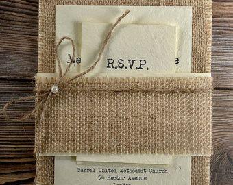 Custom listing (20) Rustic Burlap Wedding Invitation, County Style ...