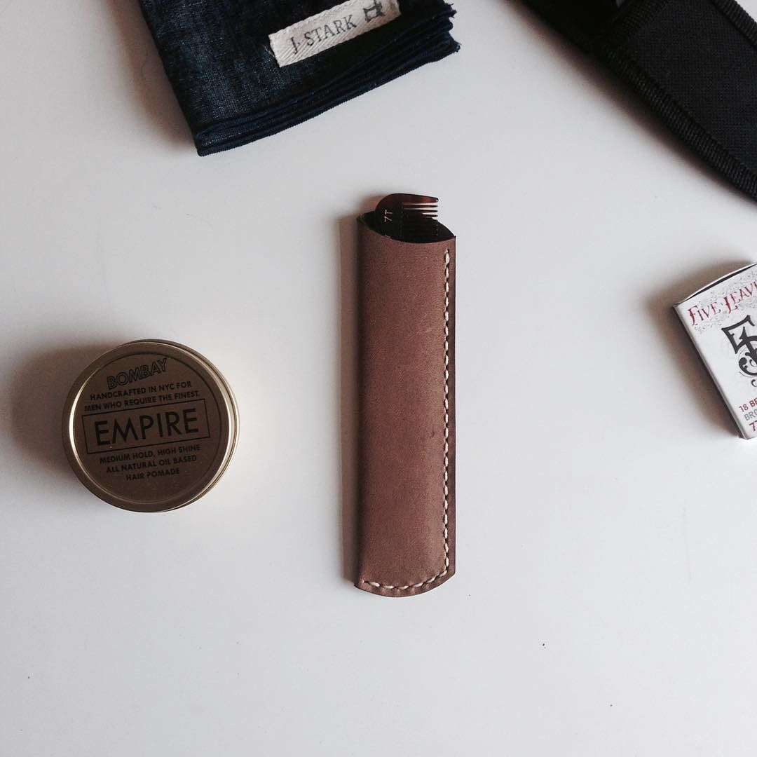 Here is a comb sleeve collaboration we did with @empire_apothecary. It's rough-out tobacco horsehide. Has a vintage feel to it fresh from the tannery. You can buy it now in their online store!
