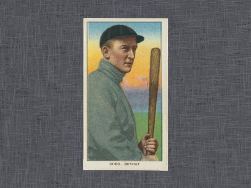 1909 t206 ty cobb bat off shoulder baseball cards