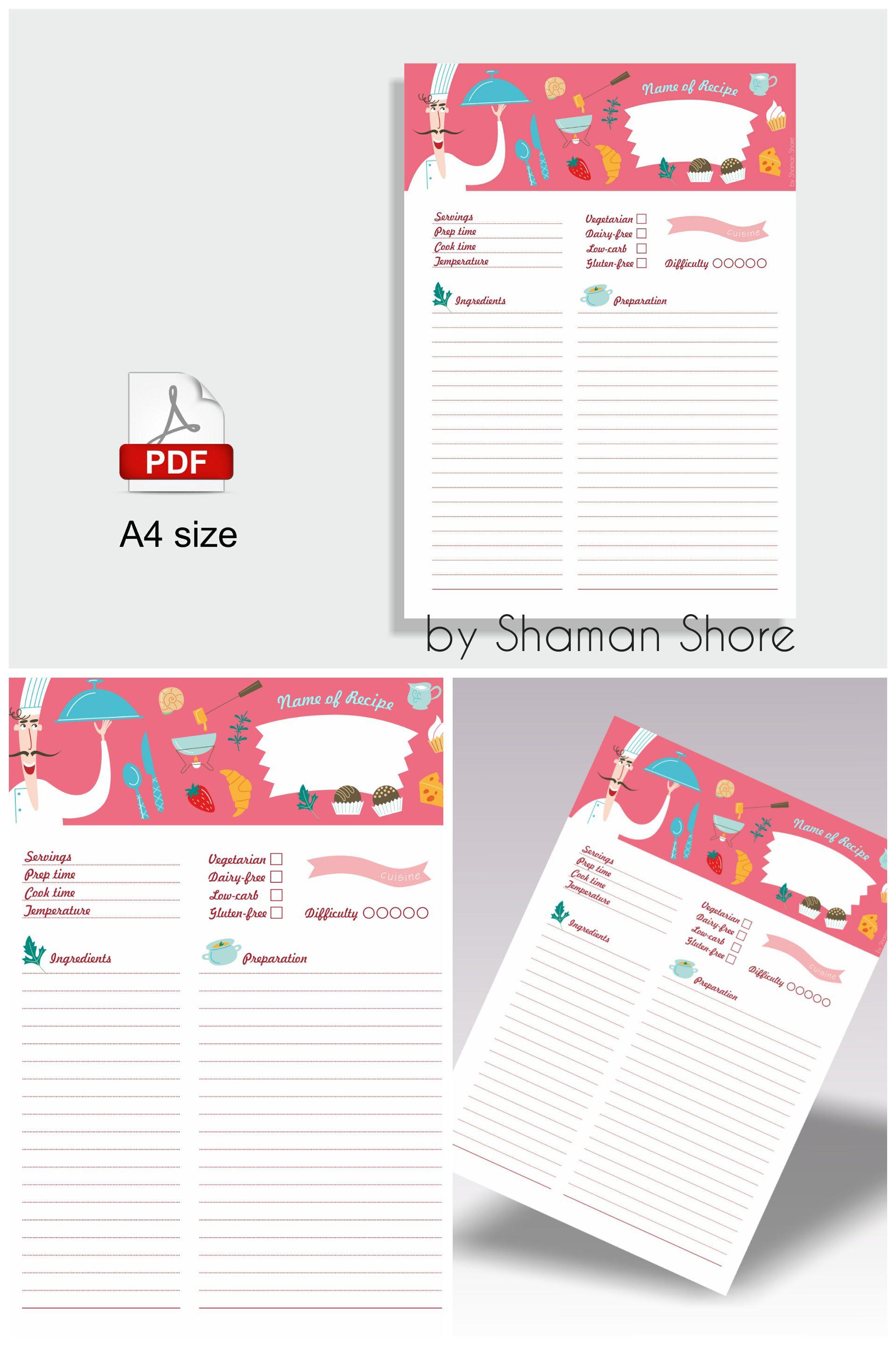 Printable Color Recipe Card Template, Pink Recipe Template A4 Pdf ...