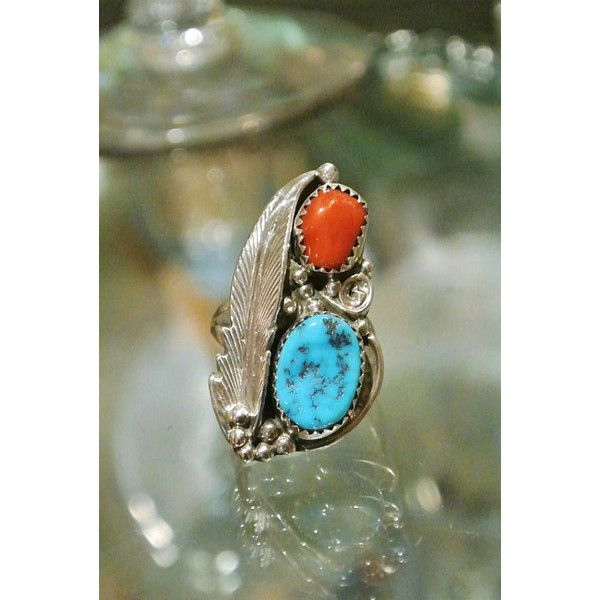 Gorgeous Native American Indian turquoise and red coral gemstone ring sterling silver size 5 Southwestern