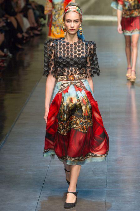 Polka dots and classic Sicilian print - Dolce and Gabbana #MFW #summer 2013 #fashion