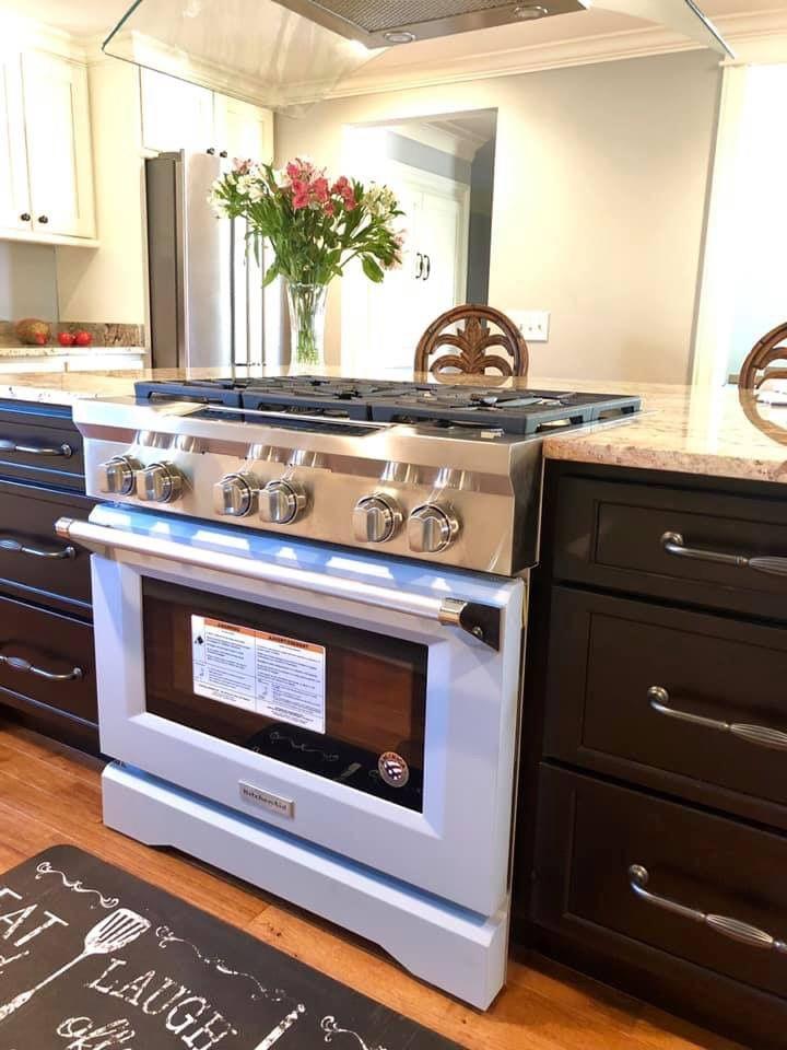 Kitchenaid 100th anniversary misty blue range kitchen