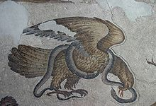 eagle and snake 6th century mosaic flooring