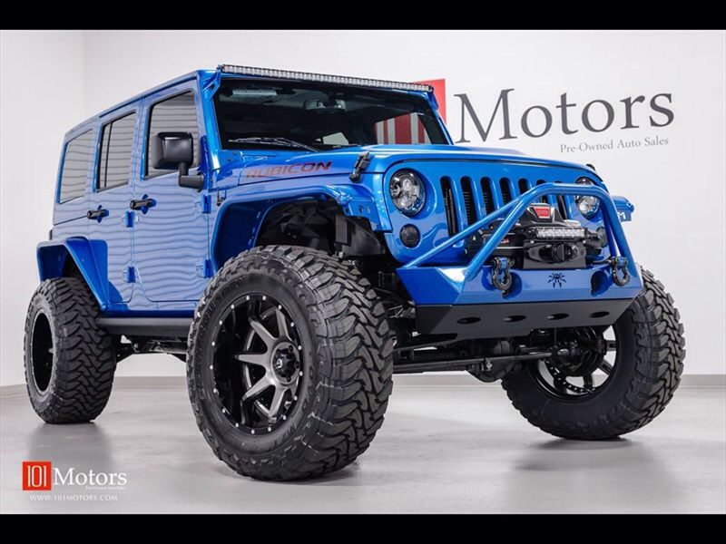 Blue Customized Lifted Modified 2015 Rubicon 2015 Jeep Wrangler