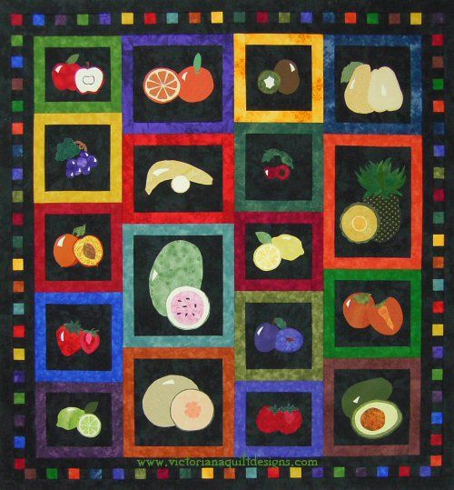 Slices of Life I so enjoyed creating colourful fruit with this design - inside and out! The fruit blocks are done in appliqué with some embroidery detailing. It would make a great take along quilt project for you to work on. The quilt pattern is available exclusively through my site here: http://www.victorianaquiltdesigns.com/VictorianaQuilters/PatternPage/SlicesofLife/SlicesofLife.htm  #quilting #fruit