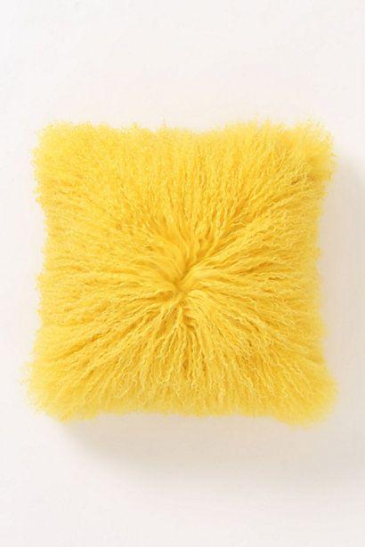 fleece flounce pillow yellow