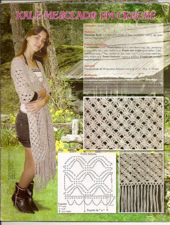 Xale mesclado em crochê | Chales y mantones | Pinterest | Chal ...