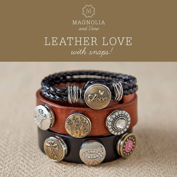 Leather bracelets. Design a style that's right for you with Magnolia and Vine customizable, snap jewelry and accessories. Check out my website... www.mymagnoliaandvine.com/932: