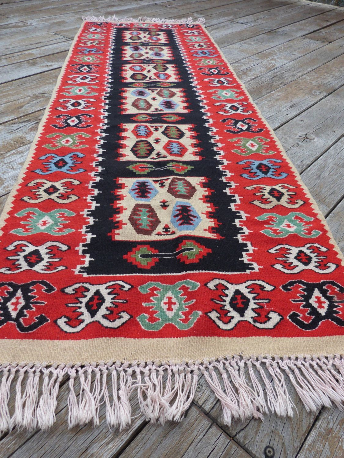 Old Hand Woven Wool Rug Handmade Carpet Carpets Traditional Romanian Farmhouse Home Decor Rag By Treasurycoffer On Etsy