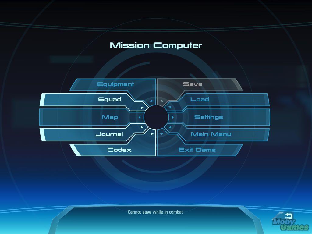 Mass Effect Windows Main Ingame Menu INTERFACE References - Game menu design