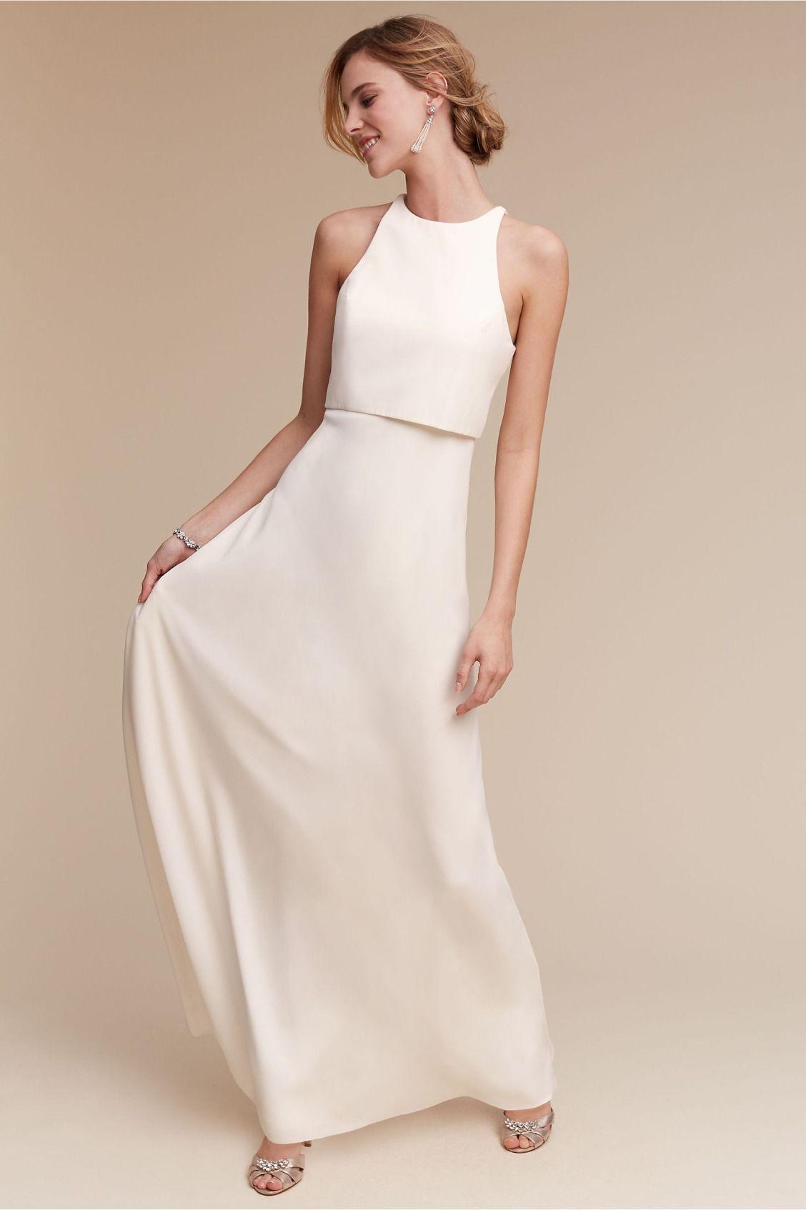 minimal crepe bridesmaid dress   Iva Crepe Maxi Dress from BHLDN