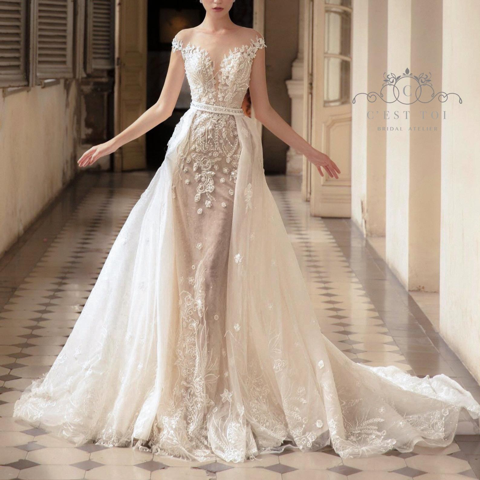 T14, Detachable Bridal Overskirt, Lace Bridal Overskirt