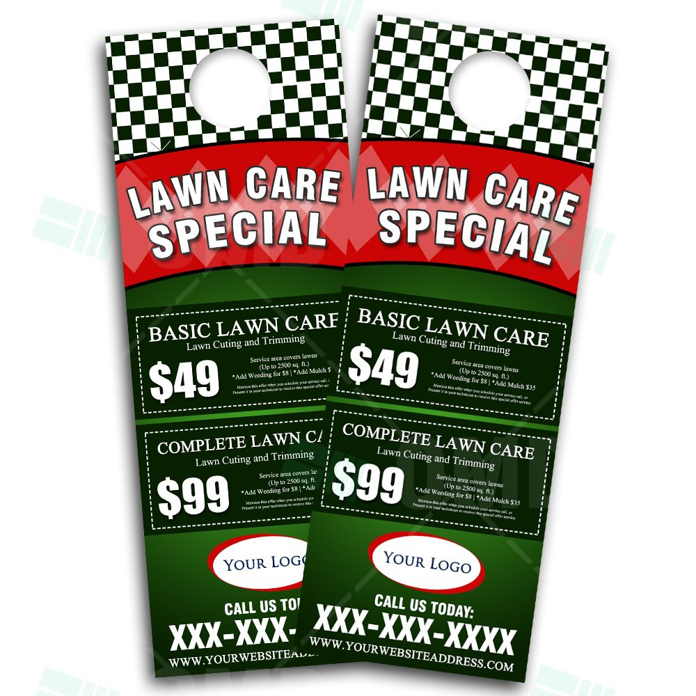 lawn care business marketing flyer template by the lawn market lawn care door hanger design eye catching landscaping marketing door hanger design we design