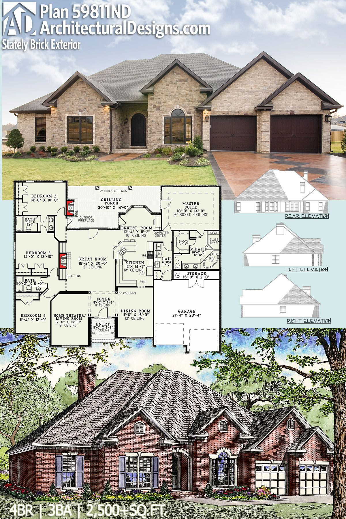 Architectural designs house plan nd gives you beds baths and has  classy brick exterior over sq ft ready when are also rh pinterest