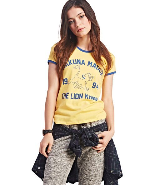 """<p>What a wonderful phrase! Have no worries when you prance around in this super cute varsity tee. Features include a screen print of the words """"Hakuna Matata 1994"""" and """"The Lion King™,"""" along with an outline of Simba™. The tee has contrast ribbed trim at the scoop neckline and short sleeves.</p>  <p>Model is 5'9"""" and wears a size small.</p>  <ul> <li>100% Cotton</li> <li>Machine Wash</li> <li>Imported</li> </ul>"""