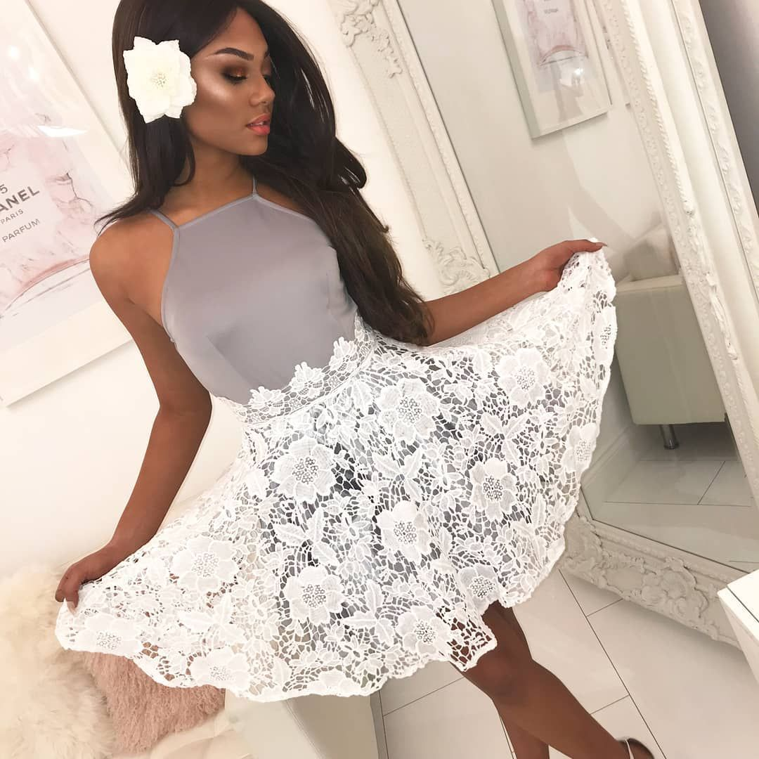 Runaway Lover Grey Crochet Skater Dress 8 (With images