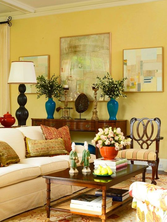 Beautifully Decorated Living Rooms For Christmas With Vaulted Systems: Beautiful Yellow Living Room....love The Symmetry Of The