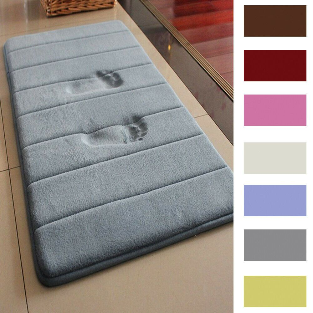 Details About Memory Foam Bath Mat Doormat Entrance Rug Anti Slip