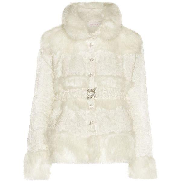 Ryan Lo - Faux Fur-paneled Devoré-chiffon Jacket (37.370 RUB) ❤ liked on Polyvore featuring outerwear, jackets, white, faux fur jacket, white jacket, ryan lo, ruffle jacket and fake fur jacket