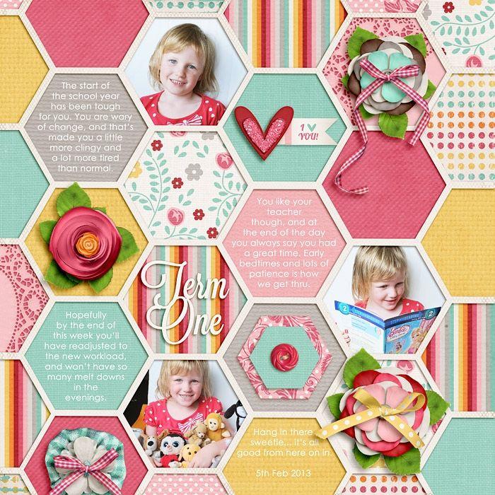 3 photos + hexagons
