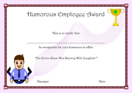 HumorousEmployeeAward  Employee Of The Month Certificates