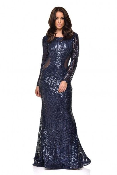 97a0b3a73b NAZZ COLLECTION PENELOPE NAVY GEOMETRIC SEQUIN BACKLESS MESH FISHTAIL MAXI  DRESS PARTY PROM EVENING VIP COUTURE EVENT RED CARPET OPEN BACK DRESS
