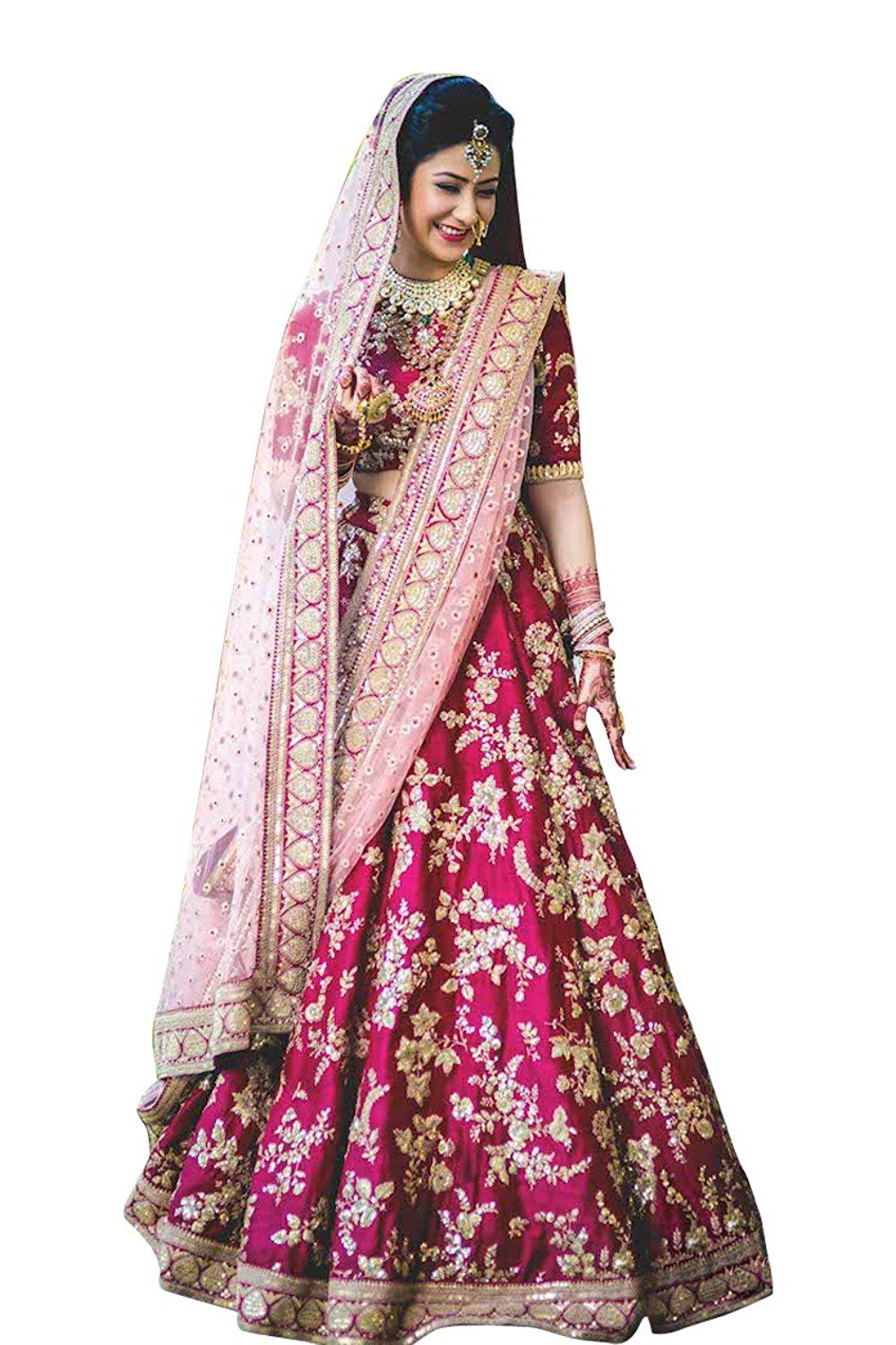 27c42fda79bb Fabron Bridal Semi Velvet Lehenga Choli With Heavy Lace Work On Dupatta   Amazon.in  Clothing   Accessories