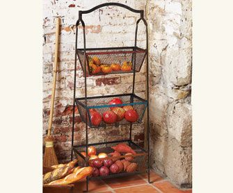 Torrione Basket Stand... For vintage character and space efficiency this three-tiered basket stand is great for everything from fresh fruit and vegetables ... & Torrione Basket Stand... For vintage character and space efficiency ...