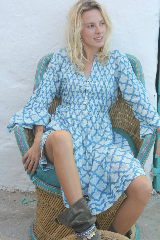 Bohemian long pleadet cotton blouse  in  classic block print in ocean  blue by AUROBELLE on Etsy