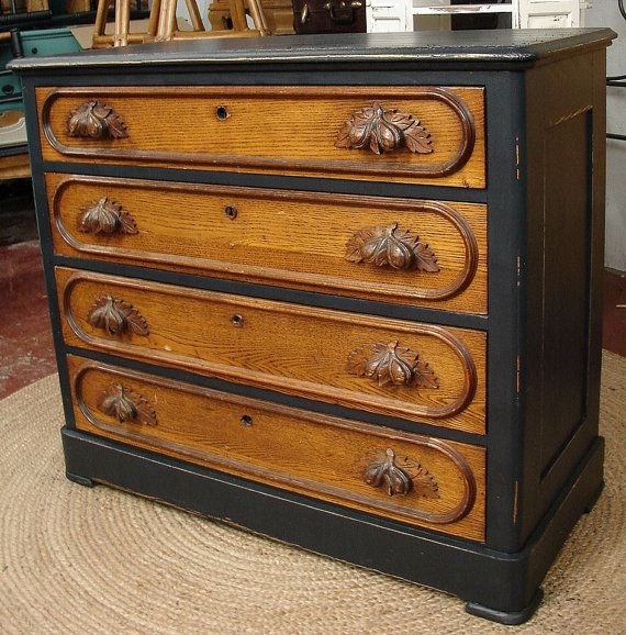 reclaimed antique vintage 4 dr black painted oak dresser chest of drawers with acorn handles. Black Bedroom Furniture Sets. Home Design Ideas