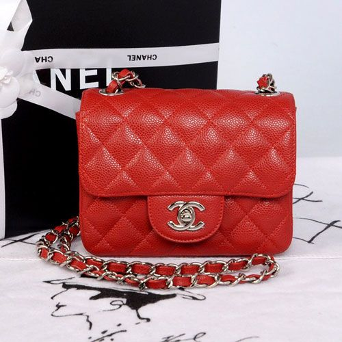 Chanel MINI CF Classic Flap Shoulder Bag A1115 Red Caviar Leather With  Silver CC Chain ATOHU 42f9f800c8
