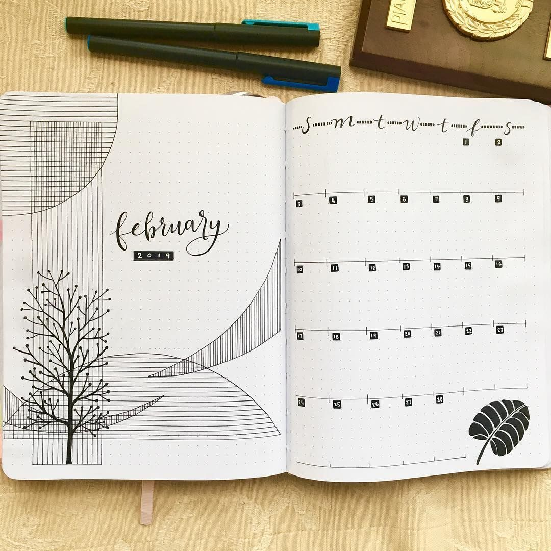Elaine Wei Design on Instagram Bullet Journal February cover page and monthly calendar I r Elaine Wei Design on Instagram Bullet Journal February cover page and monthly c...