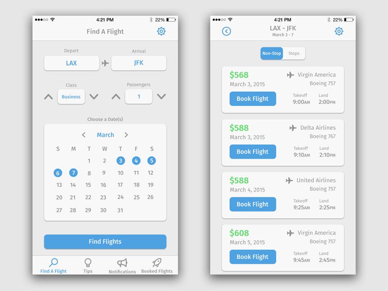 Flight Search App   Flight search and Ui design