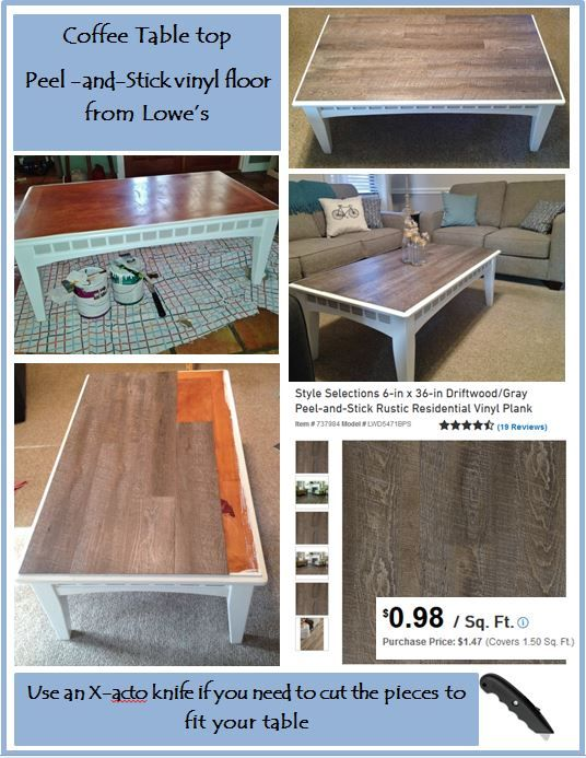 Diy coffee table with peel and stick vinyl floor simple for Cheap and easy flooring