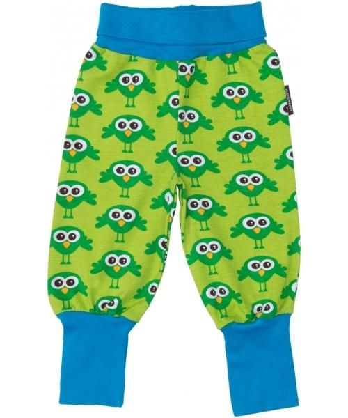 Maxomorra Organic Baggy Pants Green Bird Baby Clothes