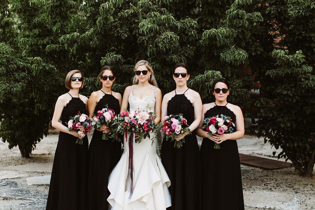 Brides Bridesmaids Wearing Sunglasses Philadelphia Wedding