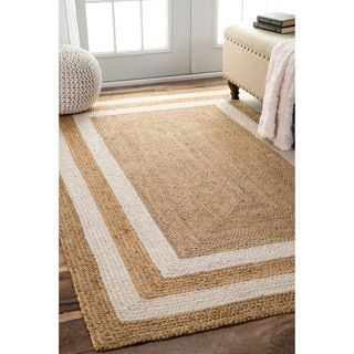 Patterned Double Border Jute Area Rug
