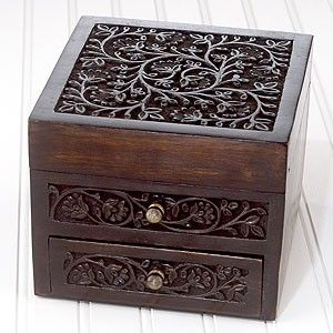 Malini Carved Wood Jewelry Box review at Kaboodle wood carvings