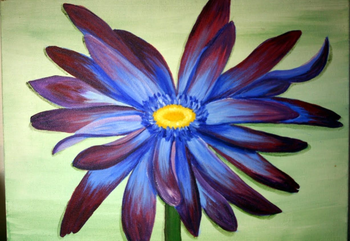 painting daisies in acrylic paints | Blue Daisy Flowers Painting