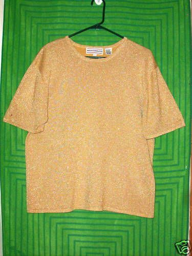 Sz L Westbound Knit Top Gold Metallic Short Sleeve Crewneck Holiday Evening  #WESTBOUND #KnitTop #EveningOccasion