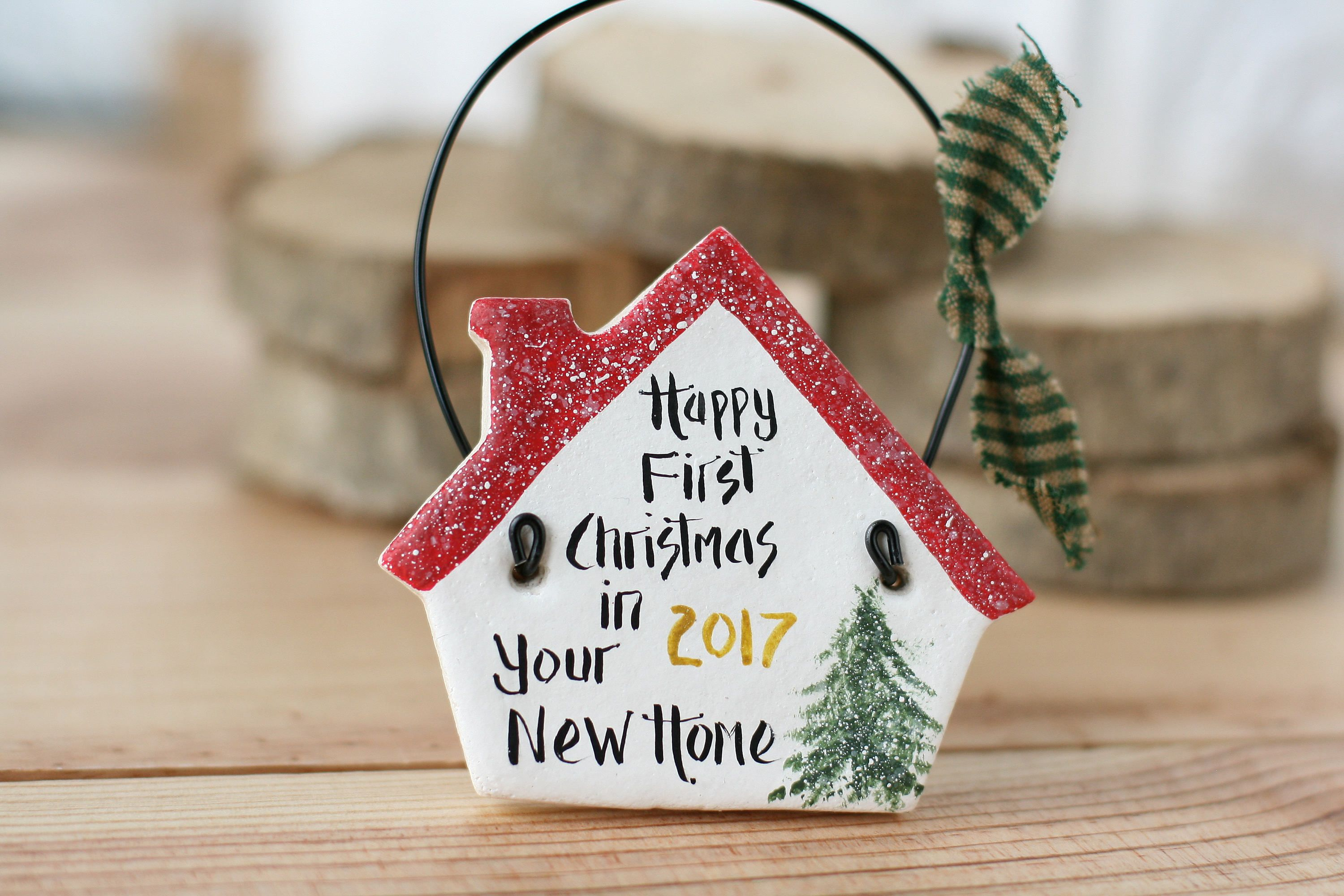small house new home christmas gift personalised hanging ornament