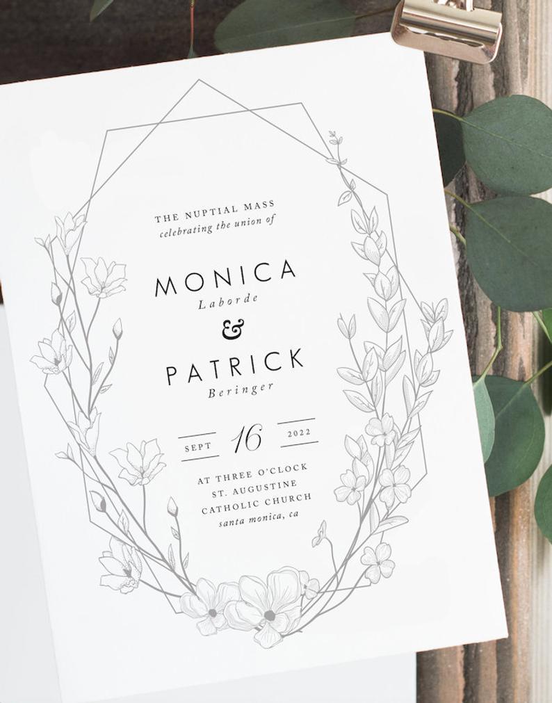 St. Monica Catholic Wedding Program Template with Mass