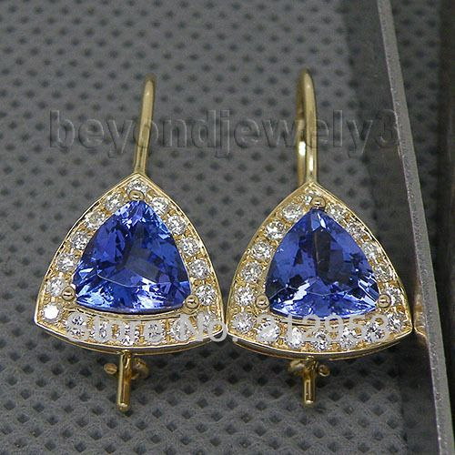 Tanzanite Earrings Yellow Gold Trillion 8x8mm 14kt Diamond Drops Jewelry We007b