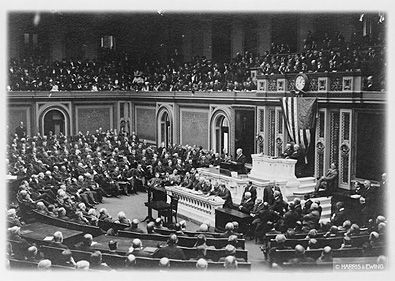 president woodrow wilson addressing the senate on the th  19th amendment