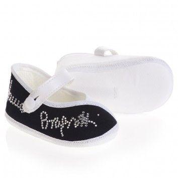 Laura Biagiotti Dolls Baby Girls Blue & White Diamante Pre-Walker Shoes