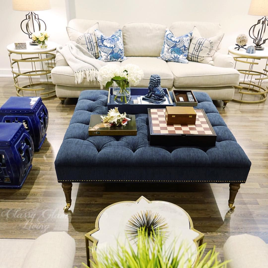 family room living room blue decor | large tufted ottoman
