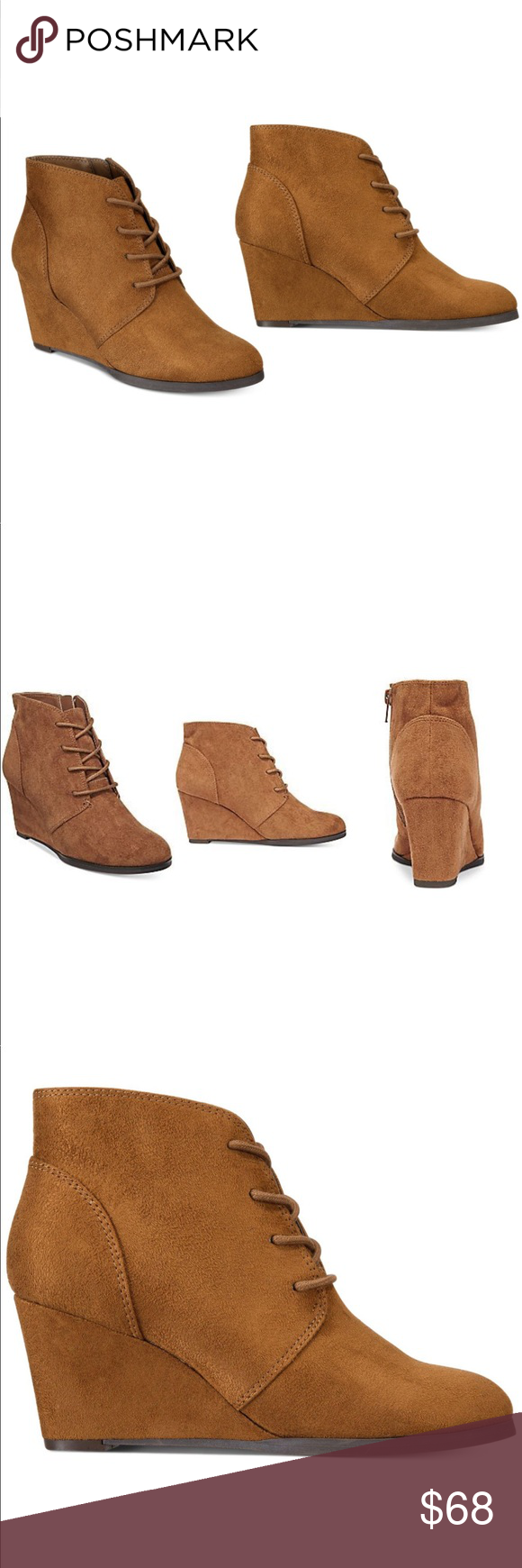 35ac8175775 Cognac Lace Up Wedge Booties Fabric Shaft measures approximately 5