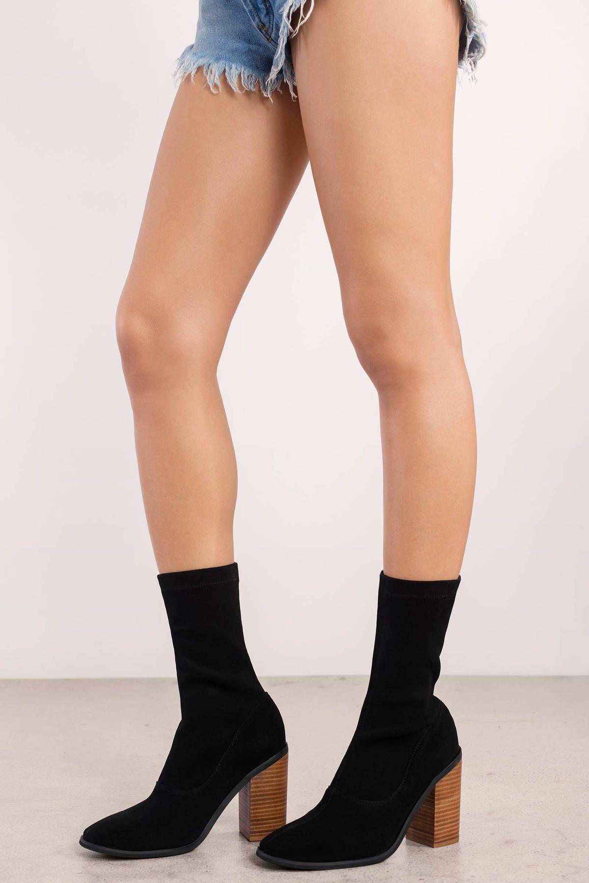 "Search ""Sol Sana Chloe Black Suede Mid Calf Boots"" on Tobi ..."